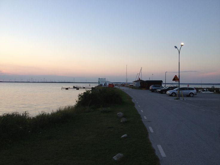 Sunset over the harbour in Burgsvik, Gotland, Sweden.