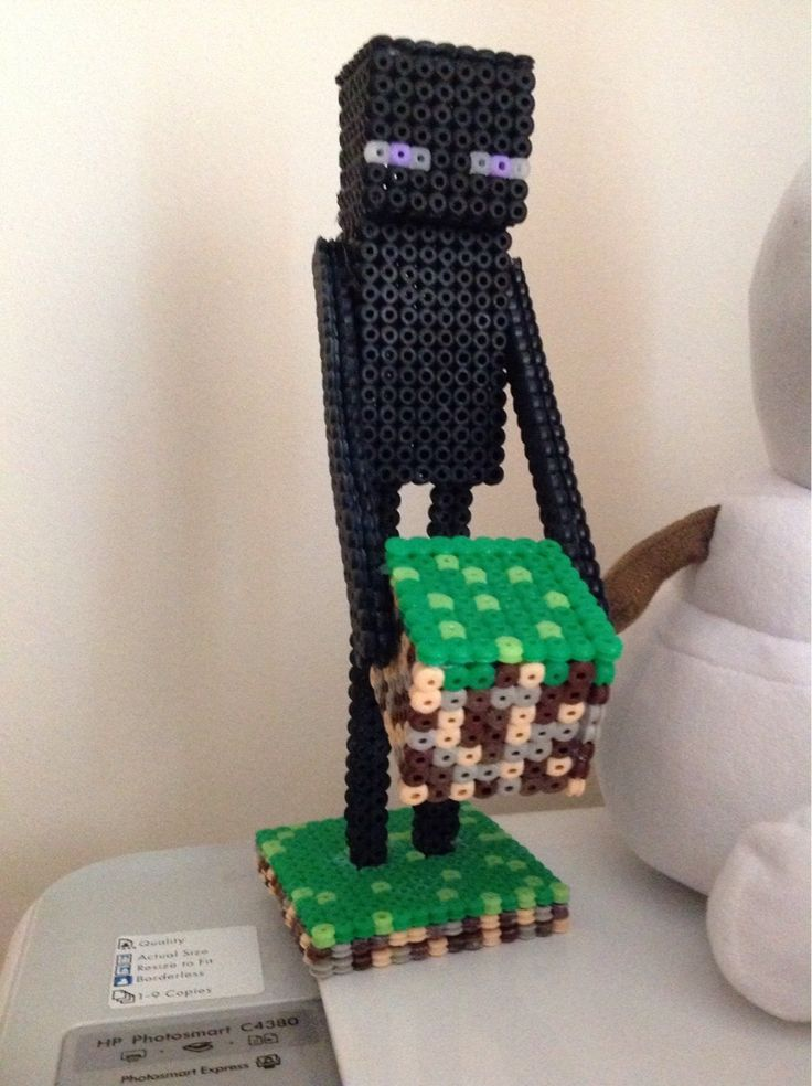 3D Minecraft Enderman with grass block perler beads  by Becky18Boop