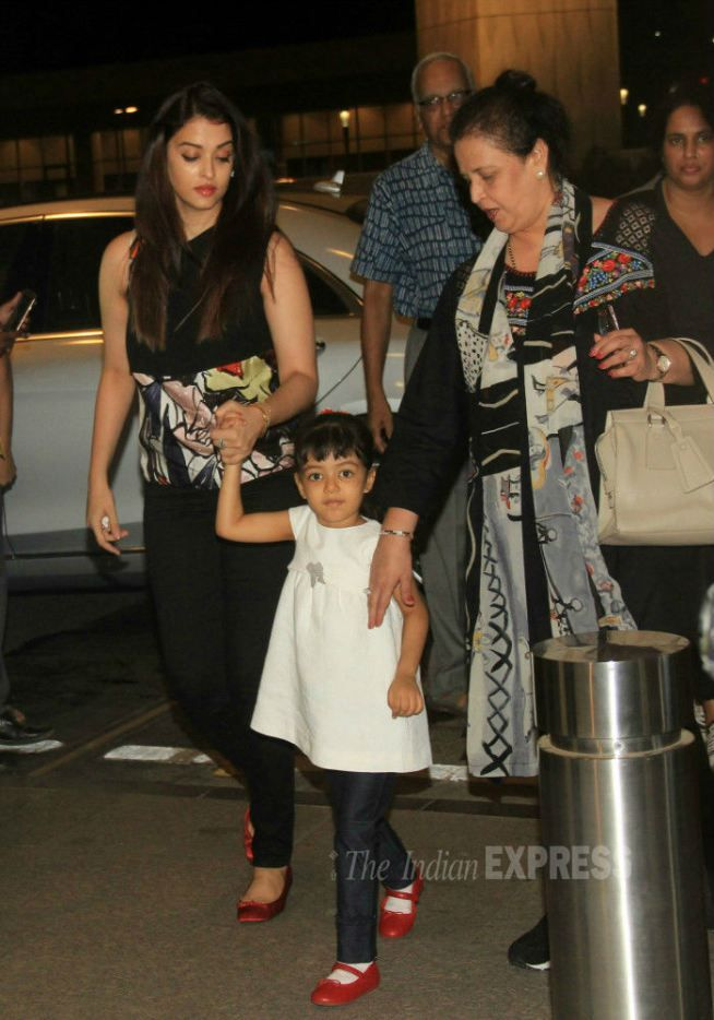 Aishwarya Rai Bachchan with her mom and daughter Aaradhya at the Mumbai airport. #Bollywood #Fashion #Style #Beauty