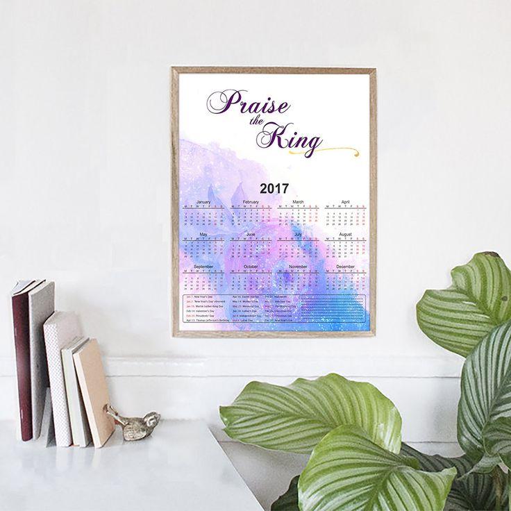 Paper Wall Calendar | A4 2017 Calendar, Organization, Scripture Digital Download, Yearly A4 Calendar, Psalm, Church Printable, Worship by HolyLandCalendars on Etsy