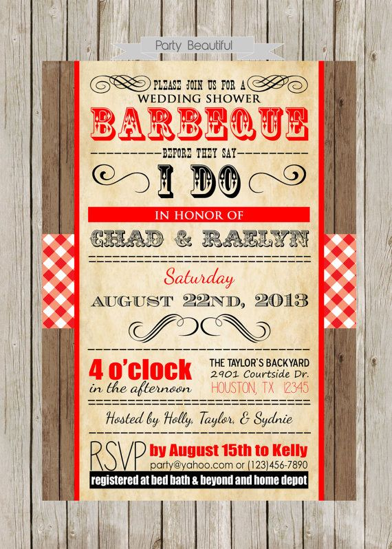 Couples or Coed Barbeque Wedding Shower by PartyBeautiful on Etsy, $14.00