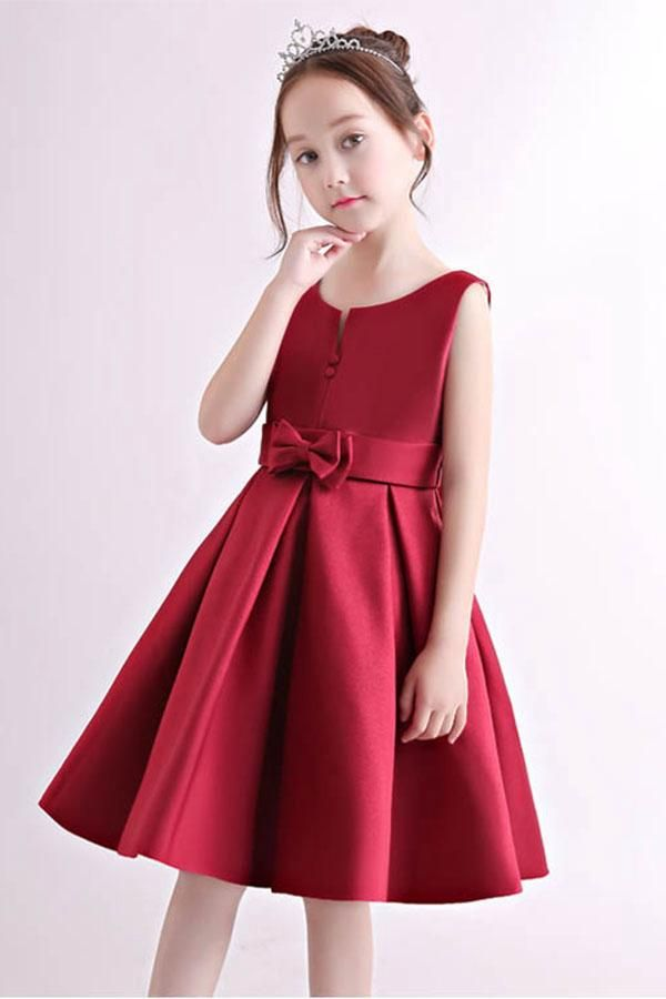 cbd3d005f Simple Knee-length Satin Flower Girl Dresses with Bow #satin #angrila #red