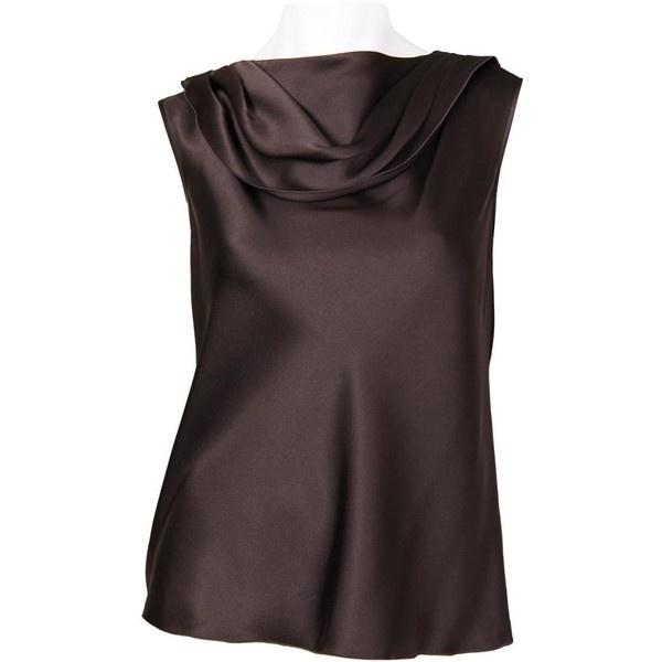 Armani Collezioni Dark Brown Satin Silk Sleeveless Top ($370) ❤ liked on Polyvore