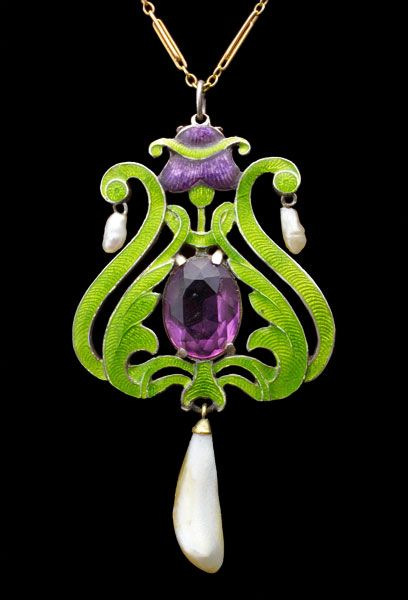 "CHILD & CHILD, Suffragette Pendant Silver Gold Enamel Amethyst Pearl British, c.1908. Green, white and violet were a code for ""give women the vote."". @designerwallace"