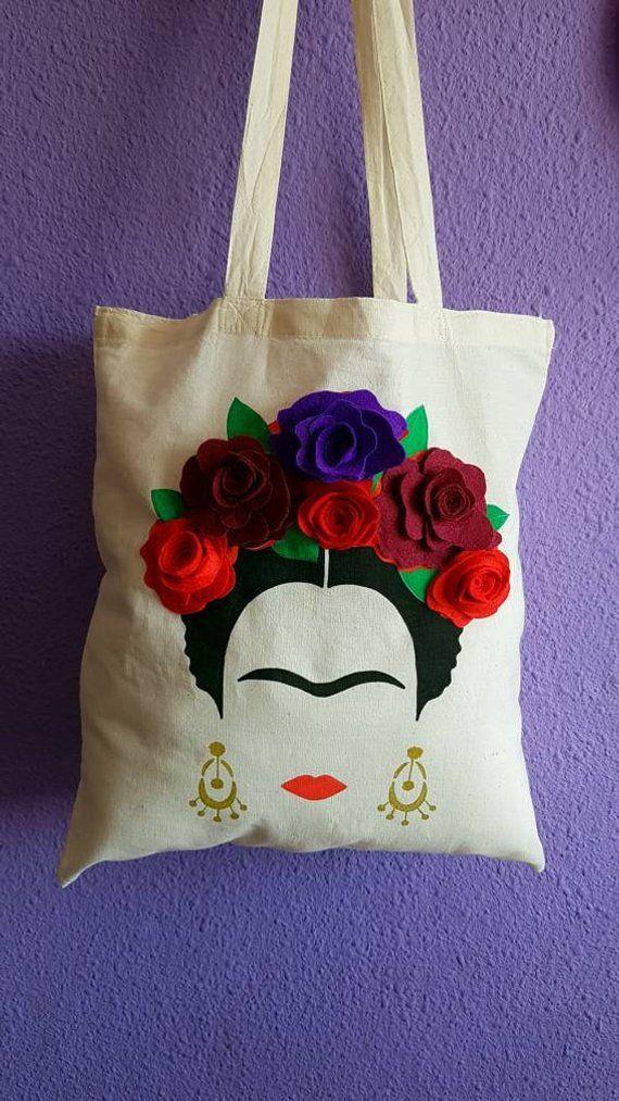 Frida Khalo bag. Tote bag. Shopping bag. With hand-sewn flowers. 100% cotton