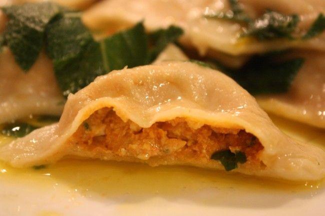 Pumpkin-Cashew Cheese Ravioli in a Sage Butter Sauce