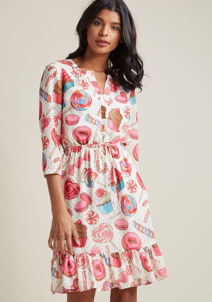 Chiffon Shirt Dress with Ruffle Hem in Sweets | ModCloth