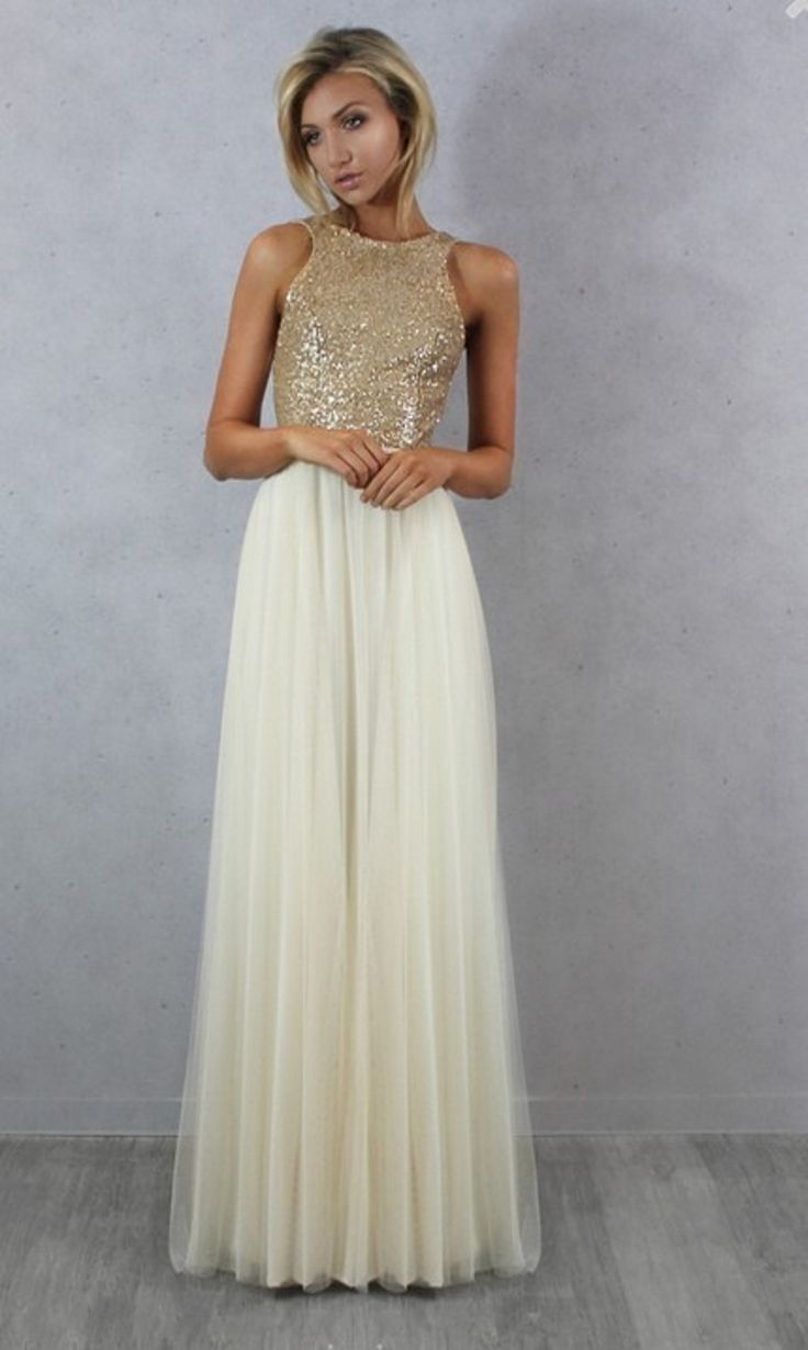 Charmming Chiffon with Top Sequin Bridesmaid Dress - Uniqistic.com