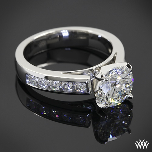 Unique k White Gold Cathedral Channel Set Diamond Engagement Ring