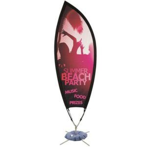 One of two uniquely shaped Sail Signs featuring high-quality fabric mesh banners. These close shaped models rotate on a center axis in the wind allowing for a taut and more readable graphic.