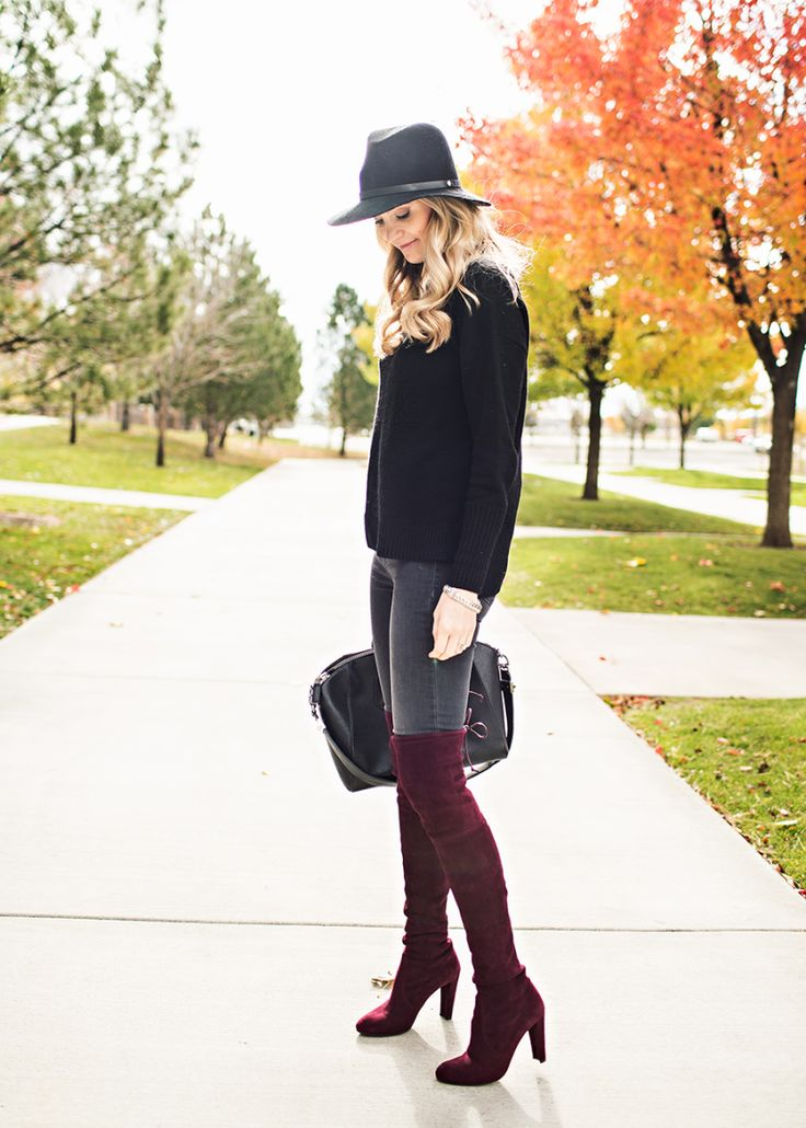 sweater, grey jeans, and over the knee boots