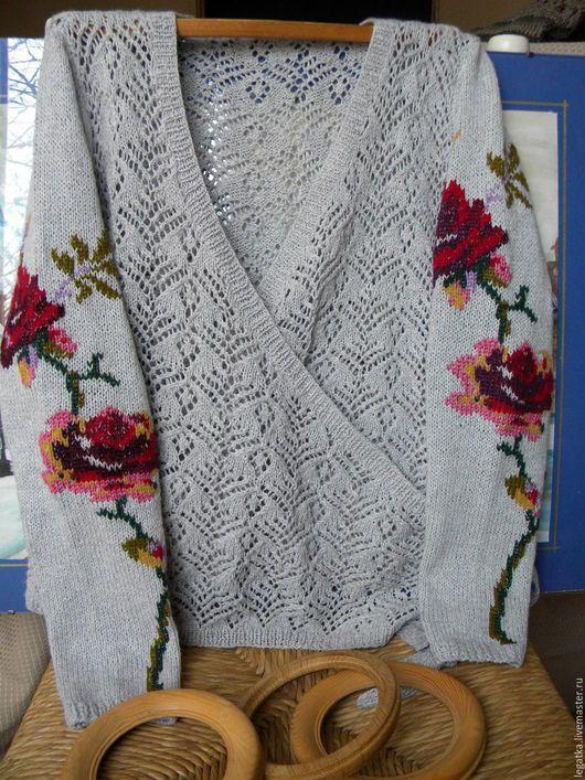 Кофты и свитера ручной работы. Кофточка ажурная с вышивкой