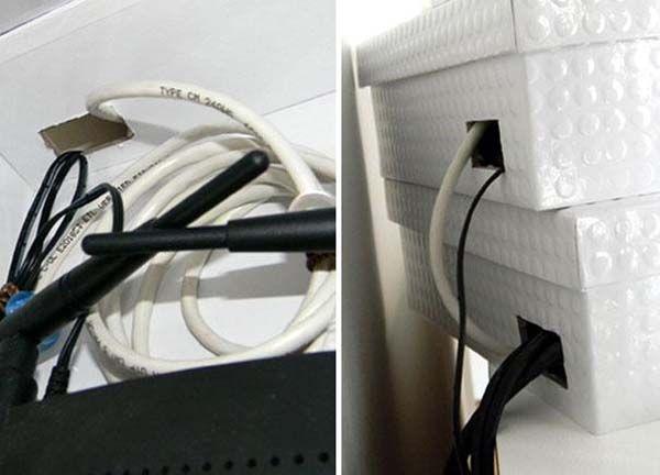 20 Ideen hässliche Sachen zu verstecken. Router und Modem in Kisten.