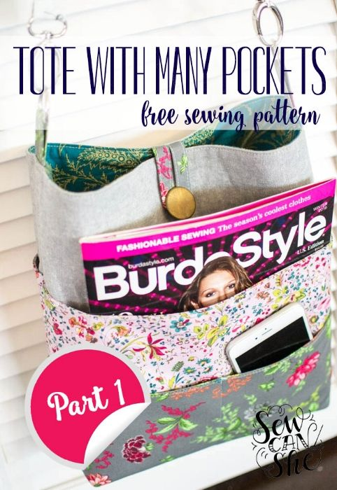 How to Sew a Tote with Many Pockets! {free sewing pattern - Part 1} — SewCanShe | Free Daily Sewing Tutorials