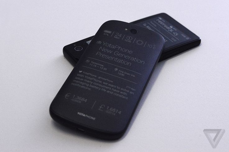 A prototype for Yota's latest YotaPhone model, with a traditional, backlit screen on one side, and an e-reader-style E-Ink screen on the other.