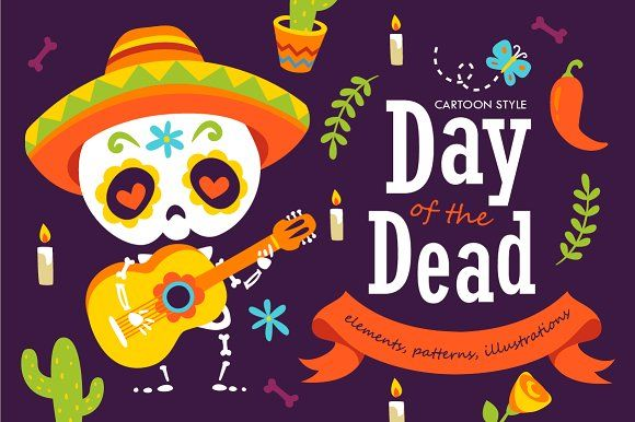 Cartoon Day of the Dead set by SunnyWS on @creativemarket