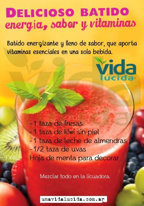Delicioso batido, energía, sabor y vitaminas en uno sólo! www.lavidalucida.com