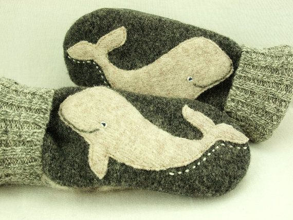 Whale Mittens Felted Wool in Dark and Light Grey by ForMyDarling, $36.00
