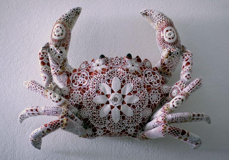 Joana Vasconcelos: Gorette. Rafael Bordalo Pinheiro faience painted with ceramic glaze and handmade cotton crochet.