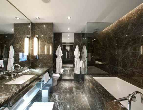 05 Hazelton Hotel Toronto  Style Green granite glory  In a word: huge. This sleek boutique hotel in Toronto boasts bathrooms fit for an A-lister (which is handy, given that the hotel's full of them). Astonishingly spacious, and stocked to the gills with Bvlgari goodies, the slick green-granite lined rooms lay the luxury on thick.