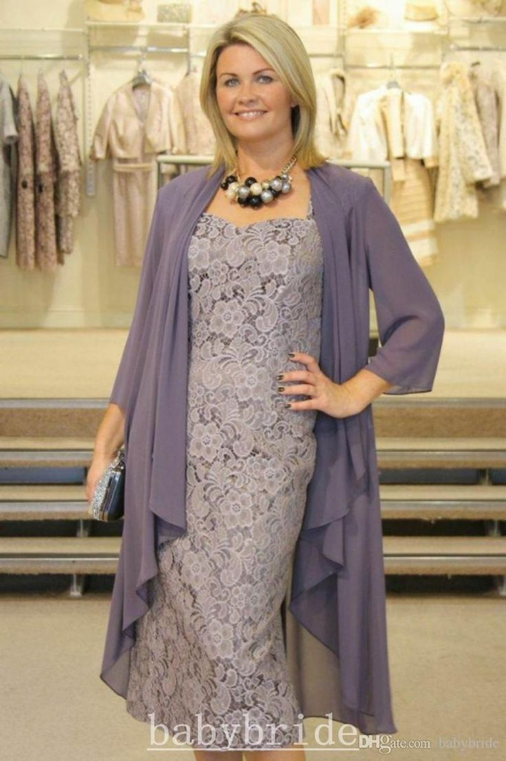 Plus Size Mother of Groom/Bride Dress 2016 Cheap In Stock Vintage Lace Formal Dress Free Chiffon Jacket Sheath Knee-Length Mother Suits
