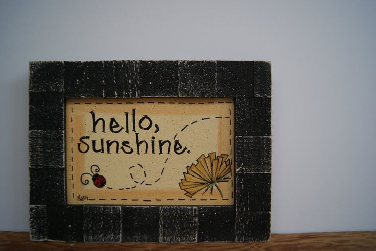 hello sunshine wooden frame  dandelion picture frame rustic chic cottage decor cottage chic home decor