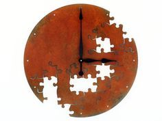 """Metal Puzzle Clock    For you creative ones. We believe black 9-3/8"""" clock hands and kit were used in the making of this clock.   https://www.etsy.com/listing/247827522/9-38-37-custom-colors-extra-large-clock    Game Clocks, Rustic, Modern, Unique, Kids, Game Room, School"""