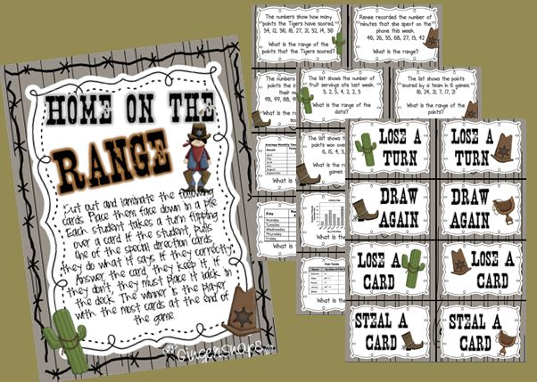 Home on the Range - math review game for finding the range of data!