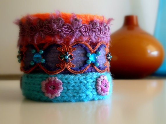 Knitted Bracelets KB 28 WINTER MOOD Set of 3 by Vladilenashandmade, $20.00