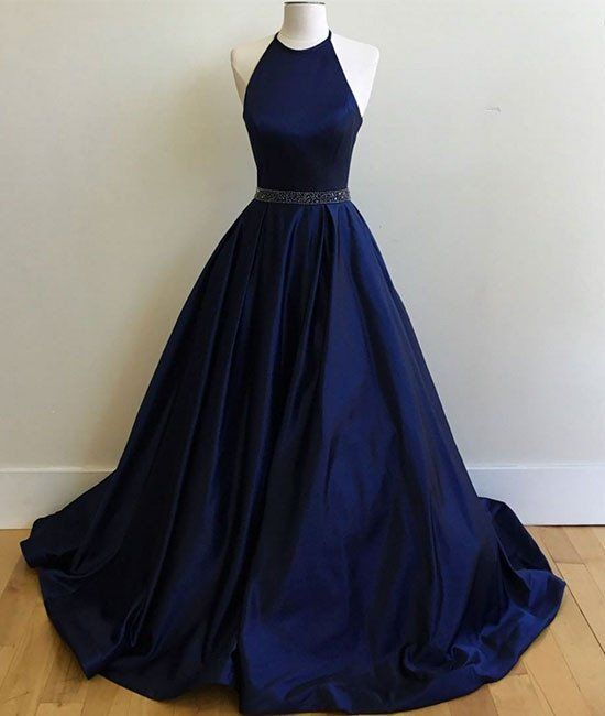 Navy Halter Prom Dress with Beaded Waist