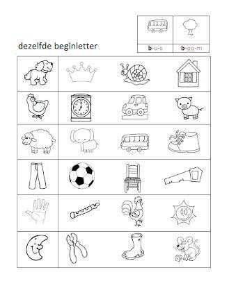 werkblad taal dezelfde beginletter auditief