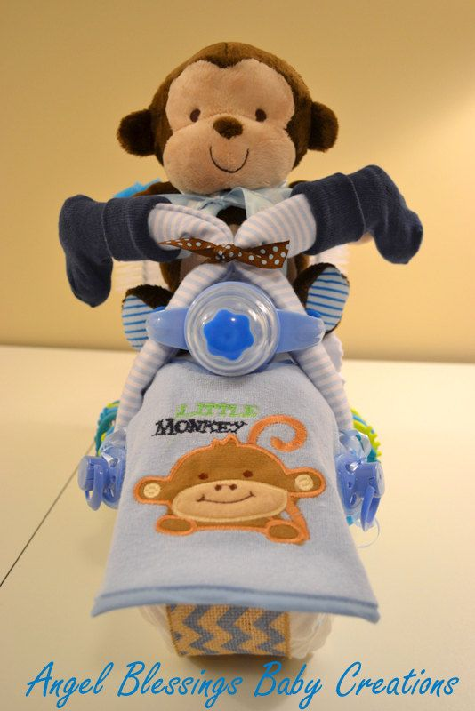 Motorcycle Diaper Cake Baby Shower Centerpiece Made To Order