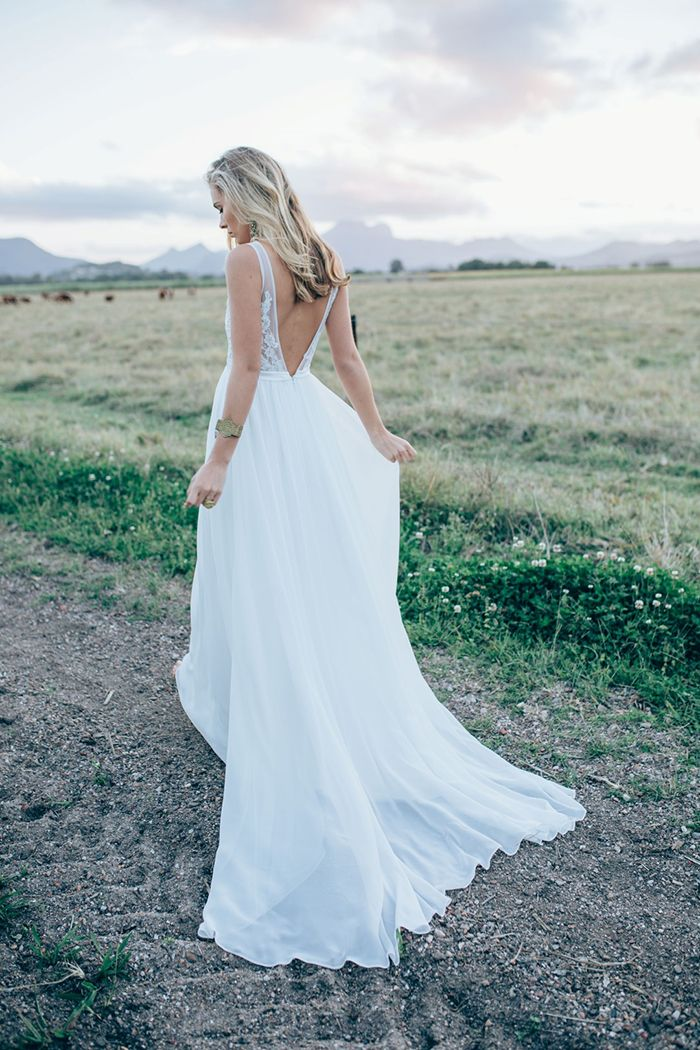 Deep Back Dress with a Chiffon Skirt from Made With Love Bridal