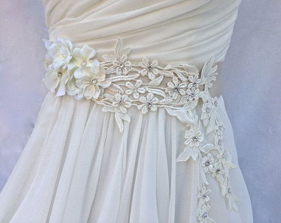 Bridal Sash-Wedding Sash In Pale Champagne And by AGoddessDivine