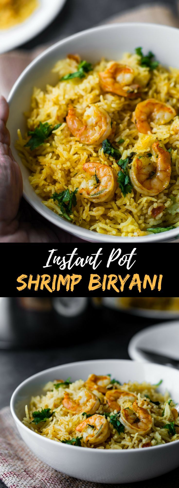 Looking for a failproof and easy shrimp or prawn biryani recipe? I have one for you! This ethnic seafood recipe will yield the most flavorful biryani without a lot of hard work. Make this prawns biryani either in the Instant Pot or stovetop - it will give you spectacular results either ways. Indian seafood at it best! via @simmertoslimmer