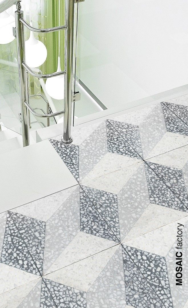 White And Grey Terrazzo Tile With Cubic Tile Pattern From Mosaic Factory S Terrazzo Collection Pattern Mosaicfa Terrazzo Tile Geometric Tile Pattern Terrazzo