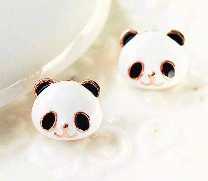 Sweet Cute Golden Panda Earrings