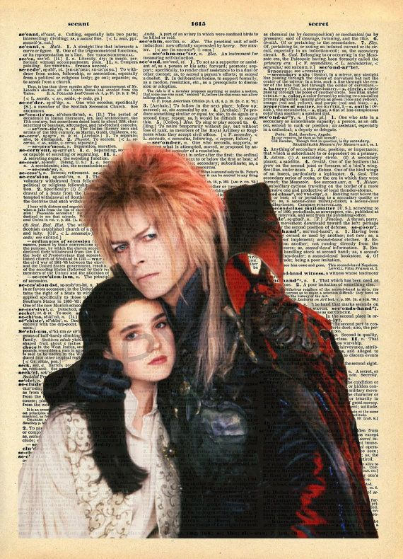 Labyrinth Goblin King and Sarah Dictionary Art by AmourPrints
