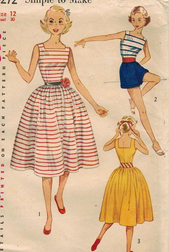 década de 1950 simplicidad 4272 costura Vintage por midvalecottage