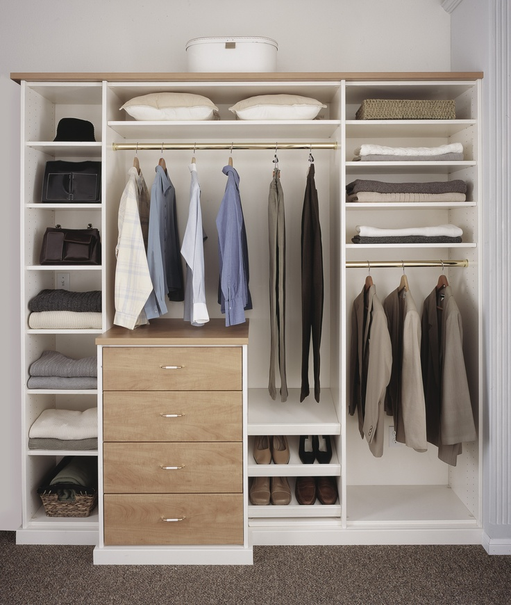 Signature Deluxe Bedroom Closet In An Antique White finish Melamine Shown  Here With Candlelight finish Melamine