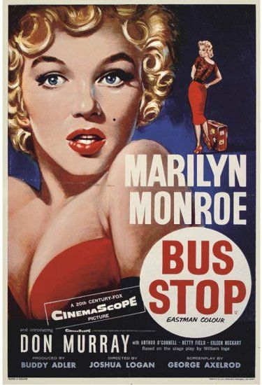Bus Stop movie poster 1956. Art by William Chantrell. Possibly one of the most outstanding Marilyn depictions on film paper.