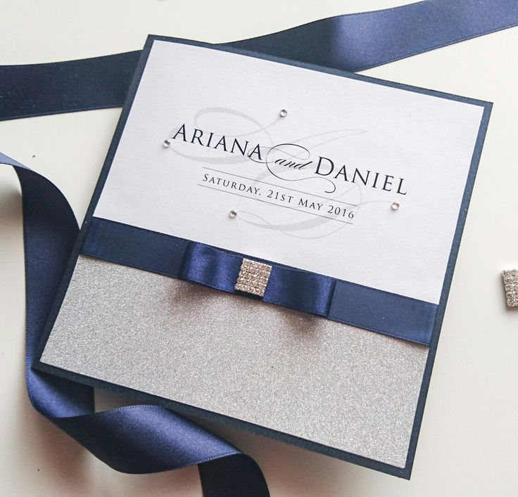 Silver glitter and navy wedding invitation by Www.primadonnastationery.com.au