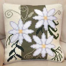 "FLORAL STRIPE Chunky Cross Stitch Cushion Front Kit 16"" x 16"""