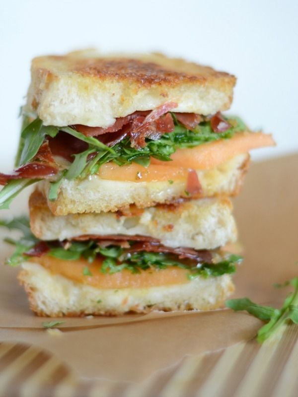 Crispy prosciutto, fontina & melon grilled cheese with arugula and honey www.mountainmamacooks.com