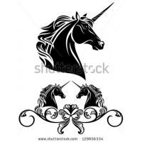 Raster - fine unicorn head decorative element - black and white illustration