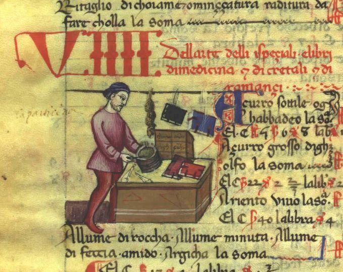 Ricc.2526 c.13 v (Arte degli speziali) - Libro delle Gabelle, 1360-1370, Firenze.