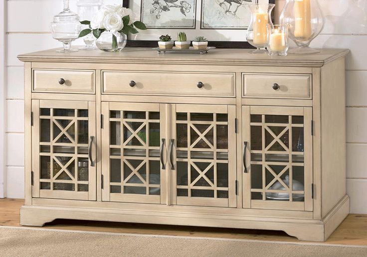 <strong>Craftsman Antique Cream 60in. TV Stand</strong>Unique distressing, statement color, and perfect scale make the Craftsman TV Stand console ideal for someone looking to add style and character to their home.