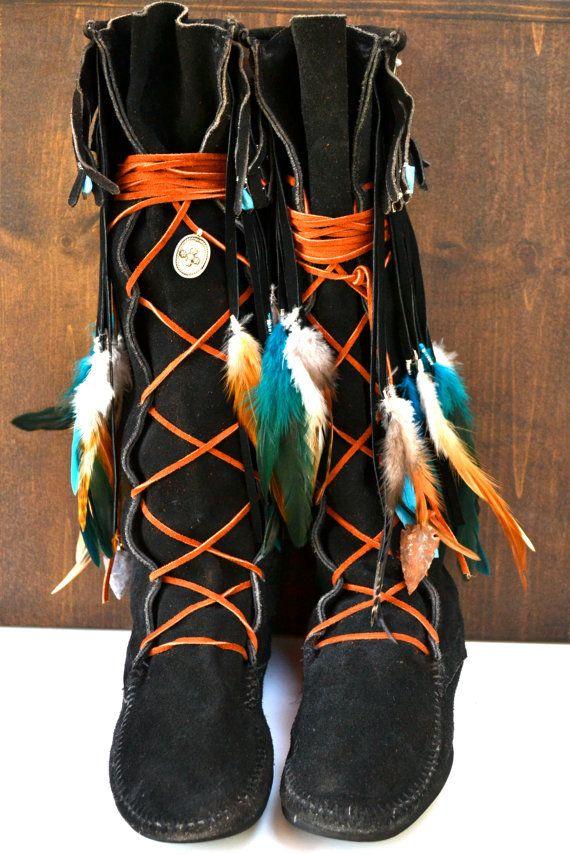 AWESOME Custom Upcycled Embellished Vintage Moccasin Fringe Boots