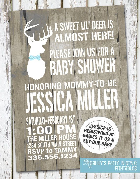 ETSY Hunting Theme - Sweet Lil' Deer - Baby Shower Invitation