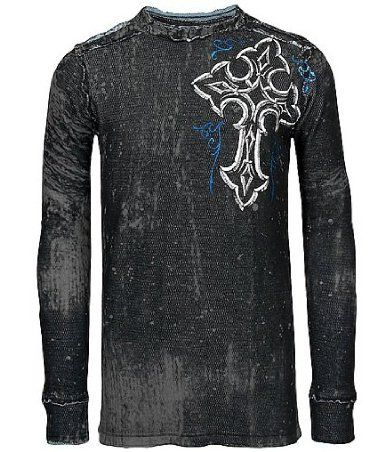 Amazon.com: Affliction Negative Exposure Reversible Thermal Black Slate: Clothing